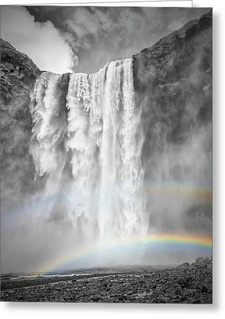 Iceland Skogafoss - Double Rainbow Greeting Card