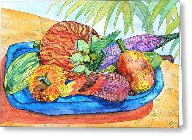 Island Style Wooden Fruit Greeting Card by Caroline Street