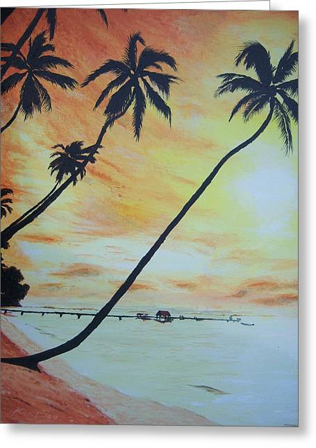 Island Sunset Greeting Card by Ken Day