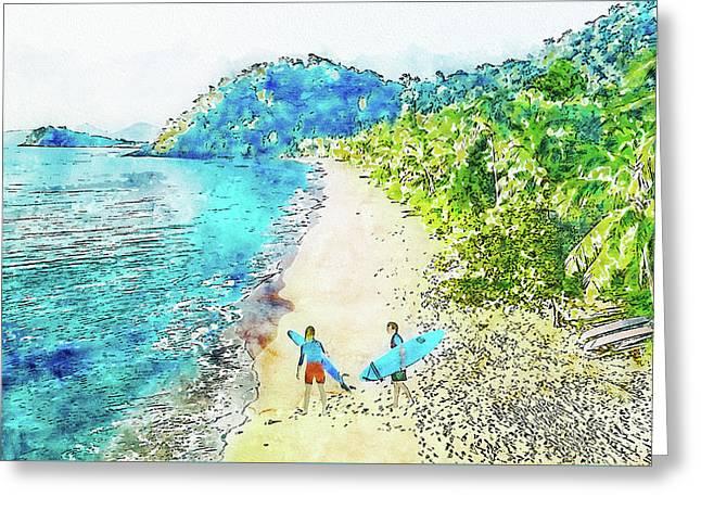 Island Surfers Greeting Card