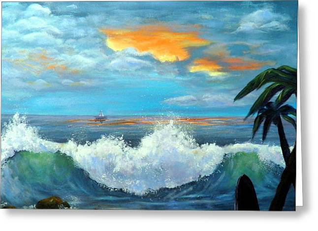 Island Time - Sunset Greeting Card