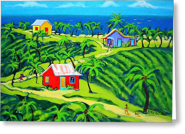 Island Time - Colorful Houses Caribbean Cottages Greeting Card by Rebecca Korpita
