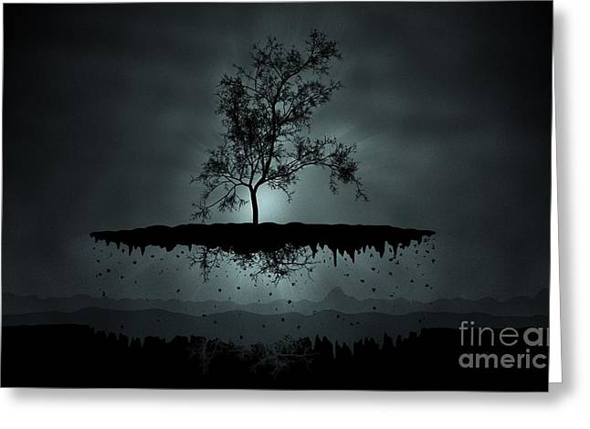 Island Tree Shadow Silhouette Greeting Card