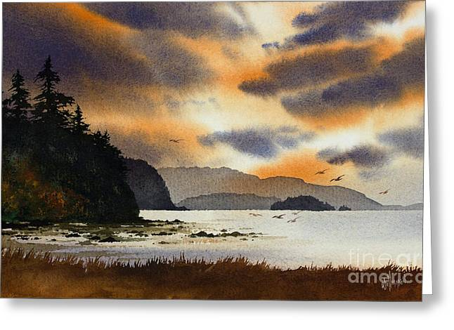 Greeting Card featuring the painting Islands Autumn Sky by James Williamson