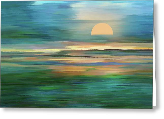 Islands In The Sunset Abstract Realism Greeting Card