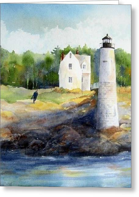 Isle Au Haut Light Greeting Card by Debra LePage