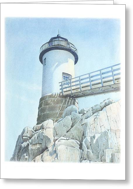 Maine Coast Drawings Greeting Cards - Isle Au Haut Light Greeting Card by Todd Baxter
