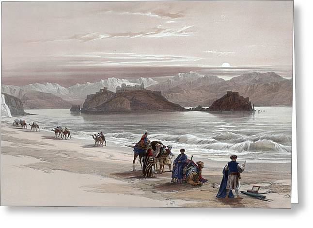 Isle Of Graia Gulf Of Akabah Arabia Petraea Feby 27th 1839 Greeting Card by Munir Alawi