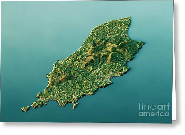 Isle Of Man 3d Landscape View South-north Natural Color Greeting Card by Frank Ramspott