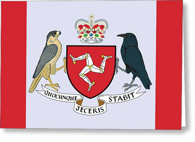 Greeting Card featuring the drawing Isle Of Man Coat Of Arms by Movie Poster Prints