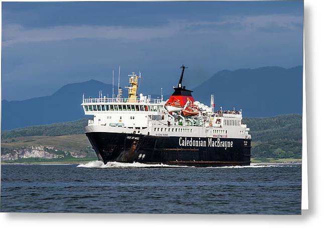 Isle Of Mull Ferry Crosses The Firth Of Lorne Greeting Card