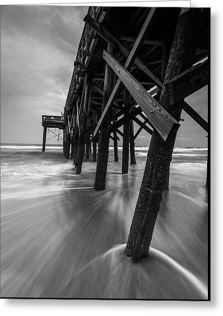 Isle Of Palms Pier Water In Motion Greeting Card