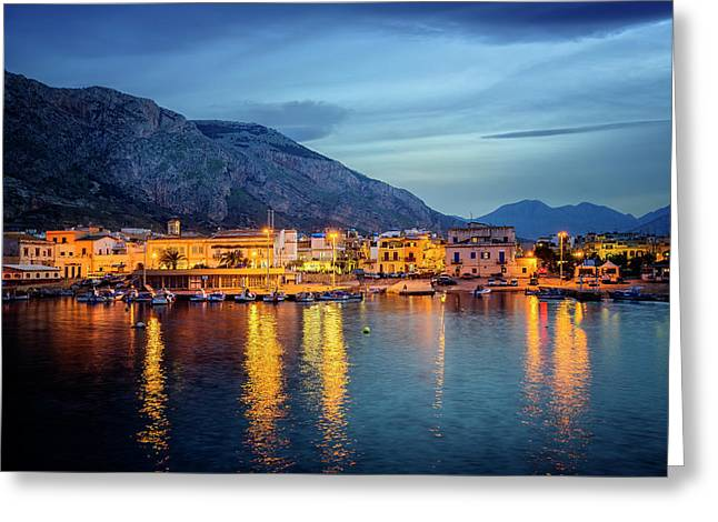 Isola Delle Femmine Harbour Greeting Card by Ian Good