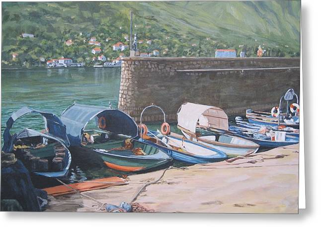 Isola Pescatori Fishing Boats Greeting Card