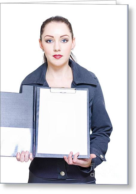 Isolated Business Woman Opening Clipboard Survey Greeting Card by Jorgo Photography - Wall Art Gallery