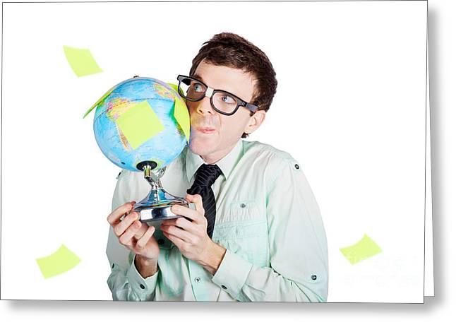 Isolated Businessman Holding World Globe Greeting Card
