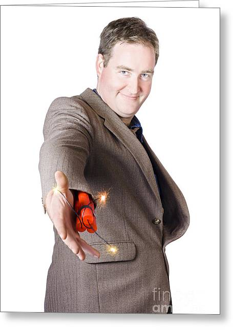 Isolated Businessman Offering Explosive Handshake Greeting Card by Jorgo Photography - Wall Art Gallery