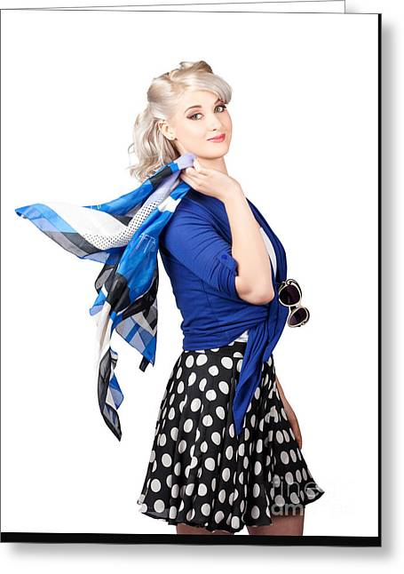 Isolated Caucasian Woman With Pinup Fashion Style Greeting Card by Jorgo Photography - Wall Art Gallery
