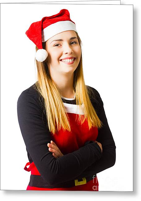 Isolated Christmas Girl Smiling In Cooking Apron Greeting Card by Jorgo Photography - Wall Art Gallery