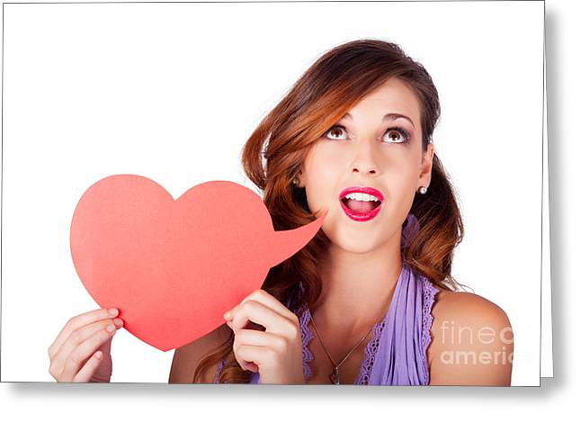 Isolated Girl Talking Through Heart Speech Bubble Greeting Card by Jorgo Photography - Wall Art Gallery
