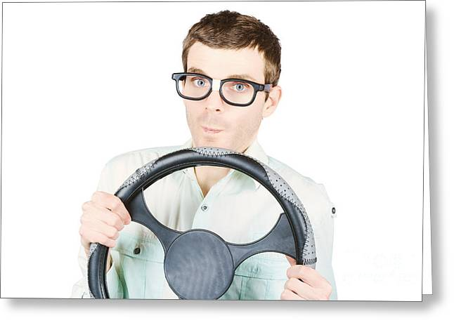 Isolated Man Driving Car On White Background Greeting Card
