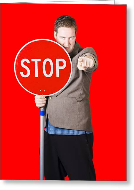 Isolated Man Holding Red Traffic Stop Sign Greeting Card by Jorgo Photography - Wall Art Gallery