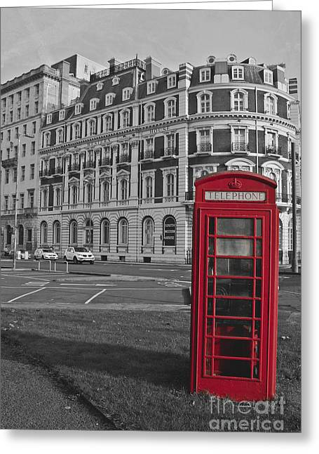 Isolated Phone Box Greeting Card