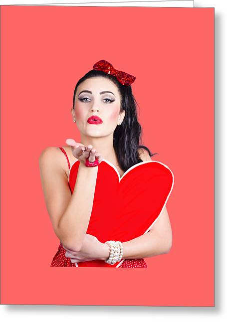 Isolated Pin Up Woman Holding A Heart Shaped Sign Greeting Card