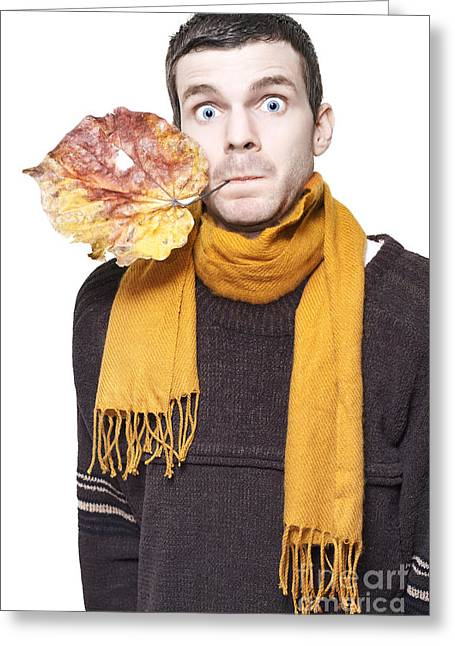 Isolated Shocked Autumn Man On White Background Greeting Card by Jorgo Photography - Wall Art Gallery