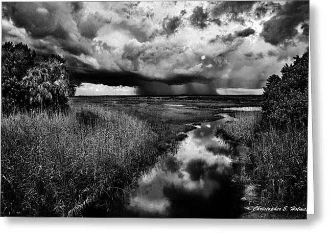 Isolated Shower - Bw Greeting Card