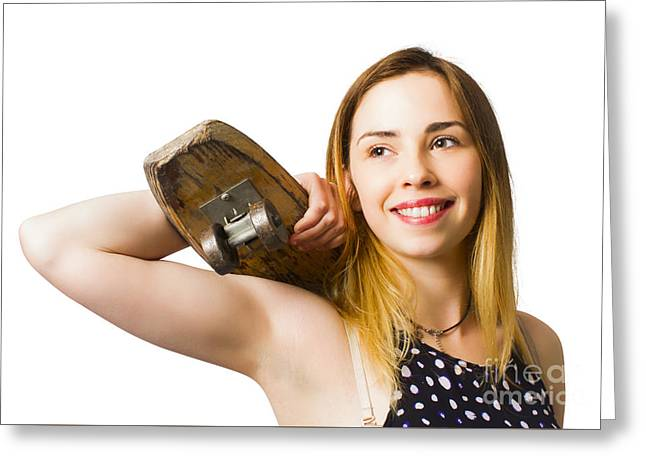 Isolated Skater Beauty On White Background Greeting Card by Jorgo Photography - Wall Art Gallery