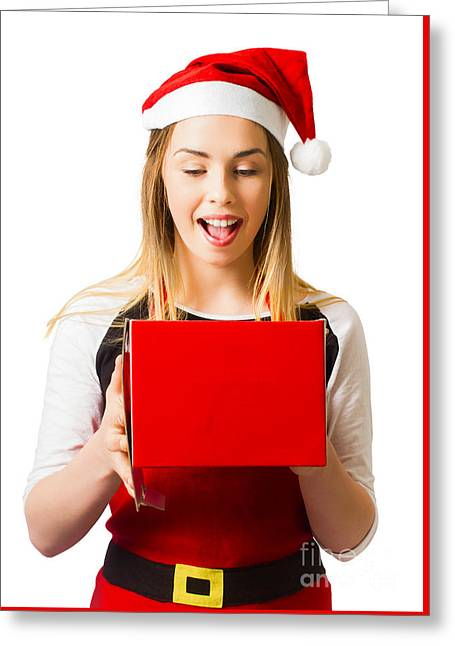 Isolated Woman With Surprise Christmas Gift Box Greeting Card by Jorgo Photography - Wall Art Gallery