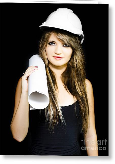 Isolated Young Female Structural Engineer Greeting Card