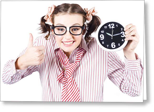 Isolated Young Girl Showing Clock With Thumbs Up Greeting Card