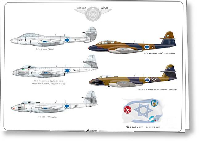 Israeli Air Force All Times Gloster Meteors Greeting Card