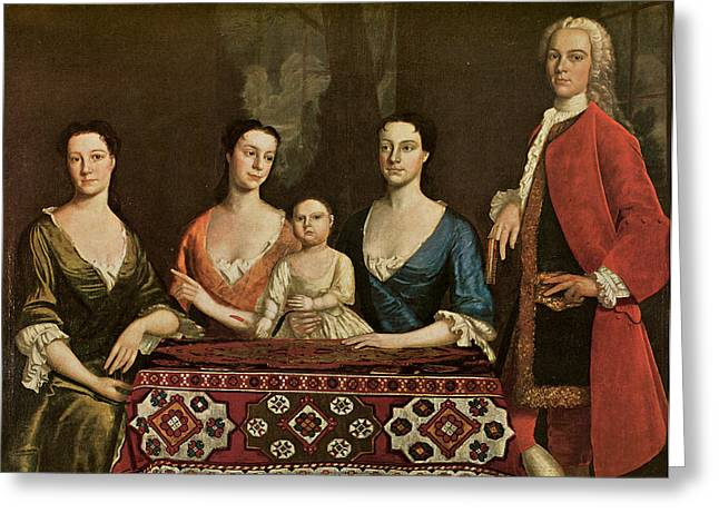 Issac Royall And His Family Greeting Card by Robert Feke