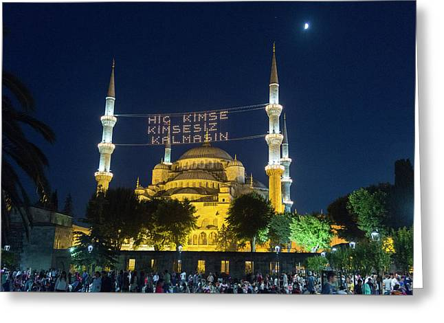 Istanbul Blue Mosque At Ramadan Greeting Card
