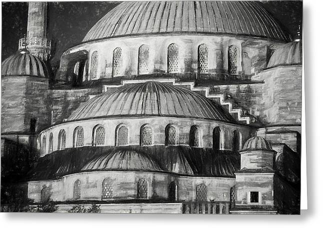 Istanbul Blue Mosque - Charcoal  Sketch Greeting Card