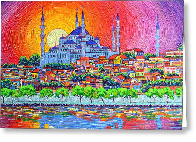 Istanbul Blue Mosque Sunset Modern Impressionist Palette Knife Oil Painting By Ana Maria Edulescu    Greeting Card