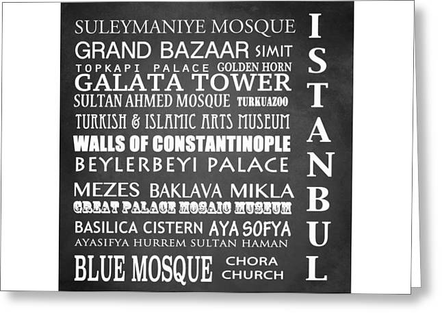 Istanbul Famous Landmarks Greeting Card by Patricia Lintner