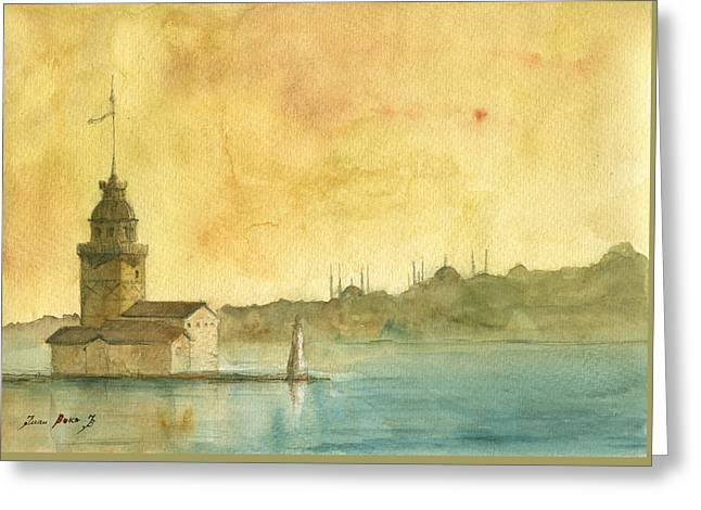 Istanbul Maiden Tower Greeting Card by Juan Bosco