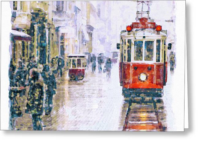 Istanbul Nostalgic Tramway Greeting Card by Marian Voicu