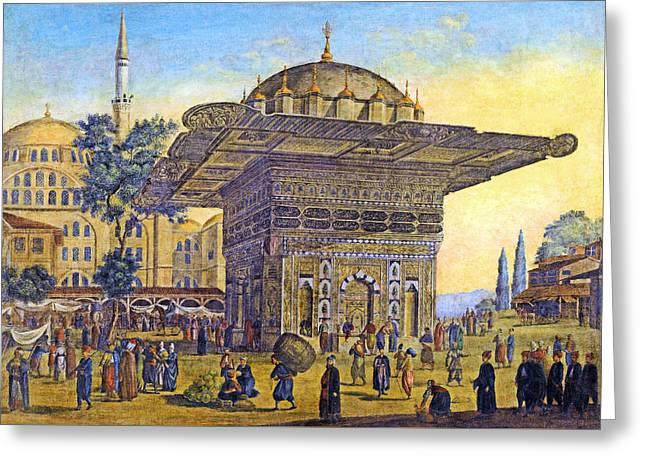 Istanbul Outdoor Bazaar Greeting Card by Munir Alawi