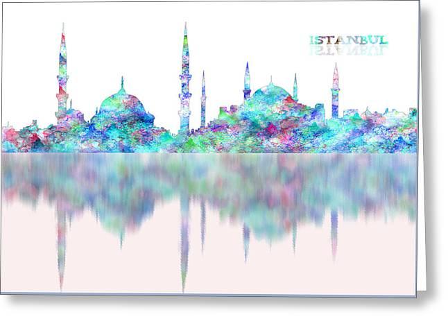 Istanbul Skyline Digital Blue Reflection Greeting Card by Georgeta Blanaru