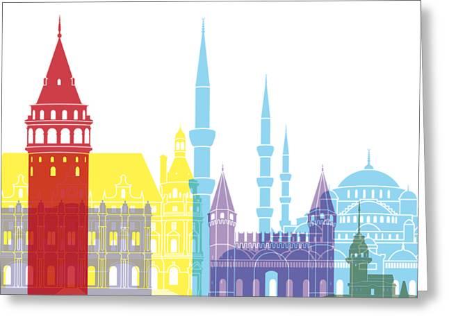 Istanbul Skyline Pop Greeting Card by Pablo Romero