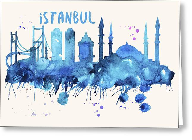 Istanbul Skyline Watercolor Poster - Cityscape Painting Artwork Greeting Card