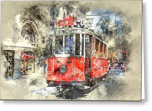 Istanbul Turkey Red Trolley Digital Watercolor On Photograph Greeting Card by Brandon Bourdages