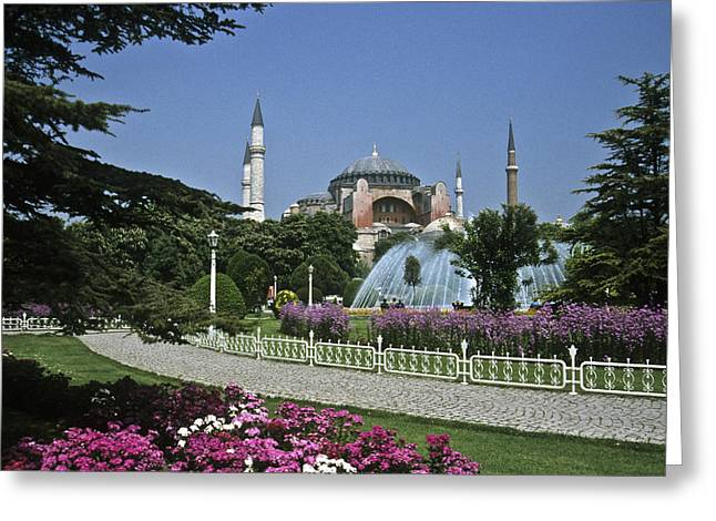 Istanbul's Hagia Sophia Greeting Card by Michele Burgess