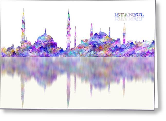 Istanbulturkey Watercolor Reflections Greeting Card by Georgeta Blanaru