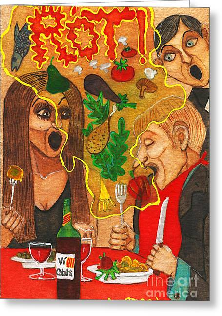 It Happened In A Restaurant Greeting Card by Don Pedro De Gracia